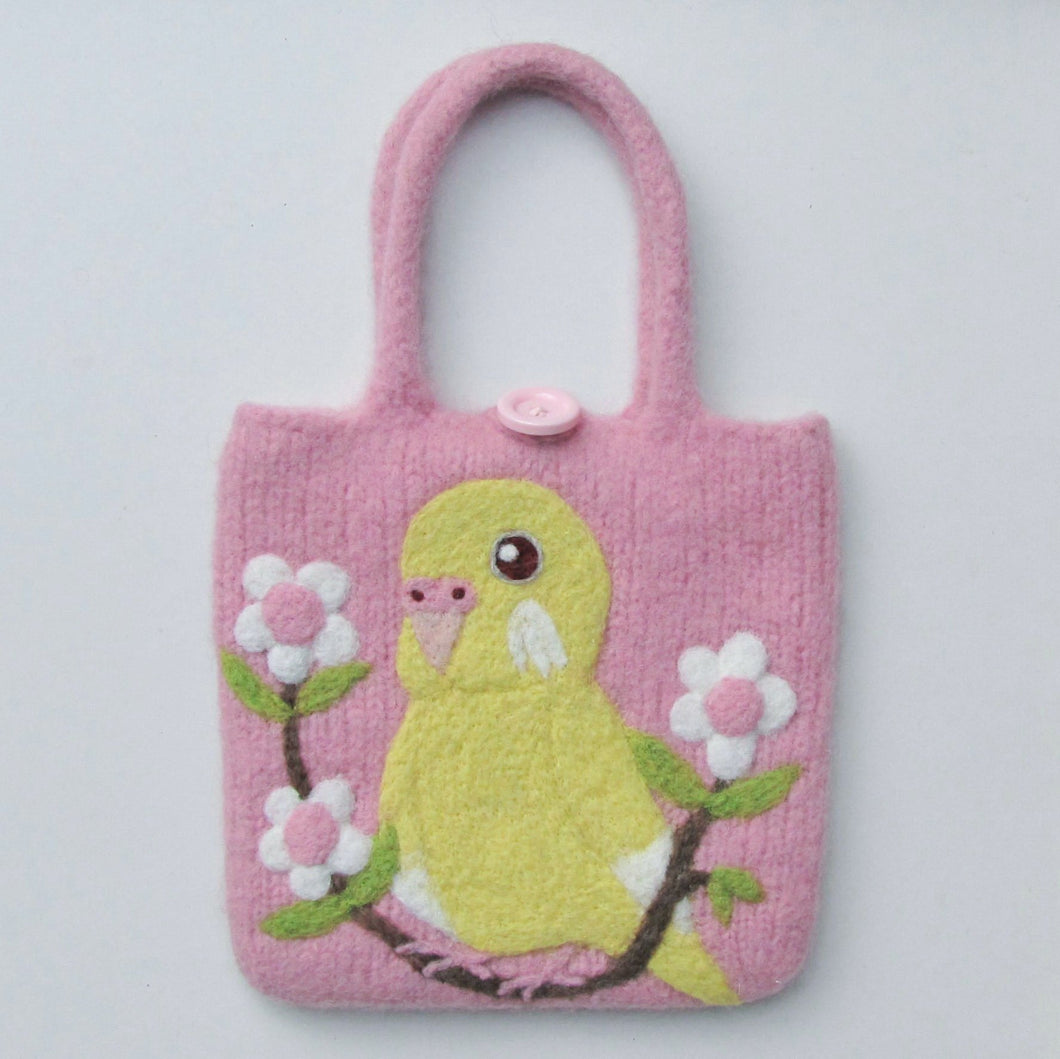 Budgie Budgerigar Parakeet Wool Felted Bag
