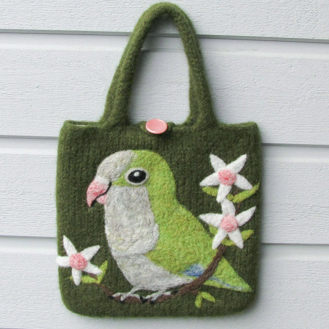 Monk Parakeet Wool Felted Bag - Boutique SWEET BIRDIE