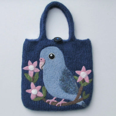 Pacific Parrotlet Wool Felted Bag - Boutique SWEET BIRDIE
