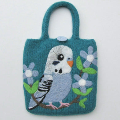 Budgie Budgerigar Parakeet Wool Felted Bag - Boutique SWEET BIRDIE