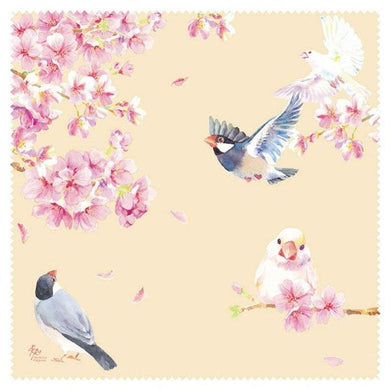 Java Sparrow and Cherry Blossom Lens Cloth Microfiber Cloth