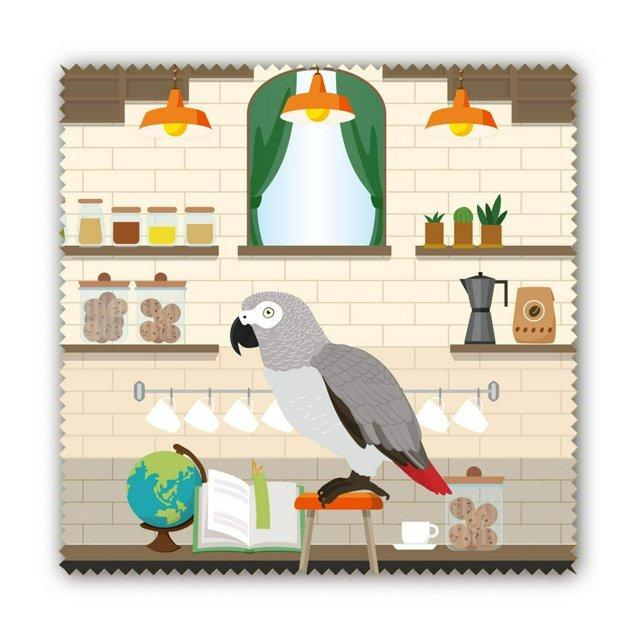 African Gray Parrot in the Cafe Lens Cloth Microfiber Cloth