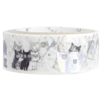 Cat Silver Glitter Japanese Washi Tape Shinzi Katoh Design ks-dt-10049