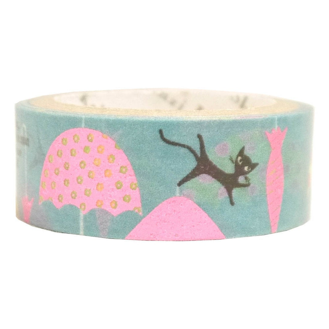 Many Umbrella Cat Pink Glitter Japanese Washi Tape Shinzi Katoh Design ks-dt-10024