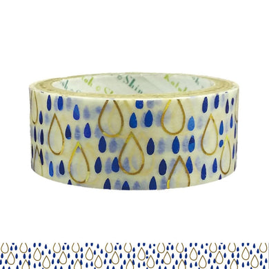 Rain Drop Gold & Blue Glitter Japanese Washi Tape Shinzi Katoh Design ks-dt-30007