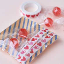 Pink Heart Japanese Washi Tape Masking Tape with Cutting Lines Slim Washi Stickers Roll Stickers TM01037