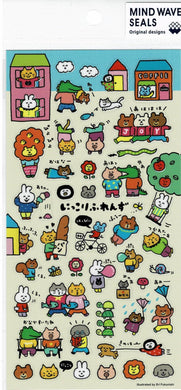 Animal Stickers Cat Rabbit Crocodile Bear Pig Squirrel Mouse Dog Lion Bee Snake Fish Turtle Snail