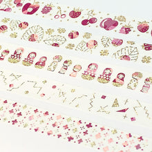 Matrioshka & Kokeshi Russian Dolls & Japanese Dolls Gold & Pink Glitter Japanese Washi Tape Shinzi Katoh Design - Boutique SWEET BIRDIE