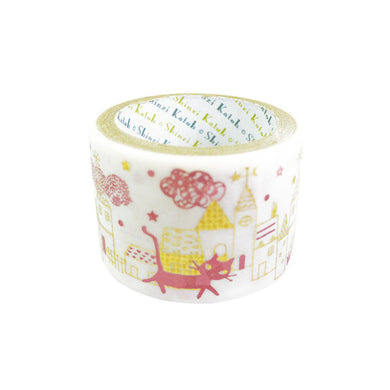 Street Cat Bird Gold & Pink Glitter Japanese Washi Tape Katoh Design ks-dt-40009 - Boutique SWEET BIRDIE