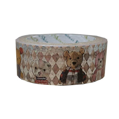 Teddy Bear Friends Japanese Silver Glitter Washi Tape Shinzi Katoh Design - Boutique SWEET BIRDIE