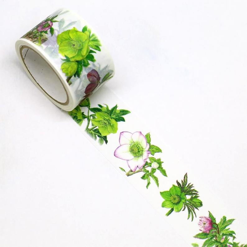 Christmas Rose Japanese Washi Tape Masking Tape Botanical Art by Humiko Sugizaki Wide 2.5cm × 5m - Boutique SWEET BIRDIE