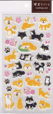 Shiba Inu Dog & Cherry Blossom Washi Stickers - Boutique SWEET BIRDIE