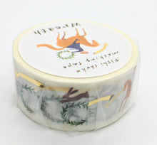 Wreath Japanese Washi Tape Masking Tape with Gold Accent Bird Rabbit Horse Fox 22-639