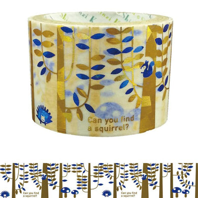 Forest Gold & Blue Glitter Japanese Washi Tape Shinzi Katoh Design ks-dt-40005