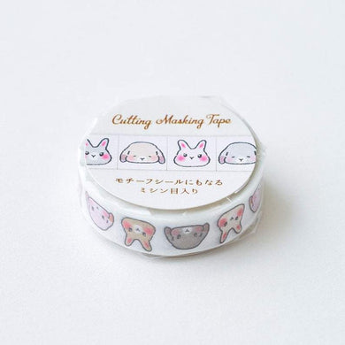 Rabbit Japanese Washi Tape Masking Tape  with Cutting Lines Slim Type Washi Stickers Roll Stickers - Boutique SWEET BIRDIE