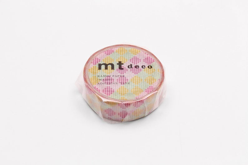 mt deco Checkers Stripe Pink Japanese Washi Tape Masking Tape MT01D453