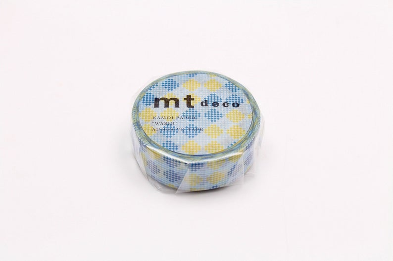 mt deco Checkers Stripe Blue Japanese Washi Tape Masking Tape MT01D454