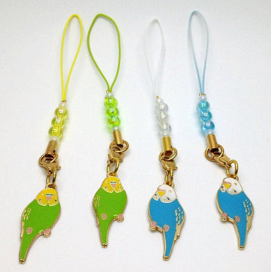 Budgie Budgerigar Parakeet Charm with Aurora Beads - Boutique SWEET BIRDIE