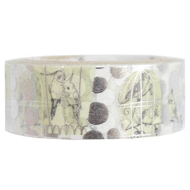 Bird Cockatiel Budgie Silver Glitter Japanese Washi Tape Shinzi Katoh Design (ks-dt-10053) - Boutique SWEET BIRDIE