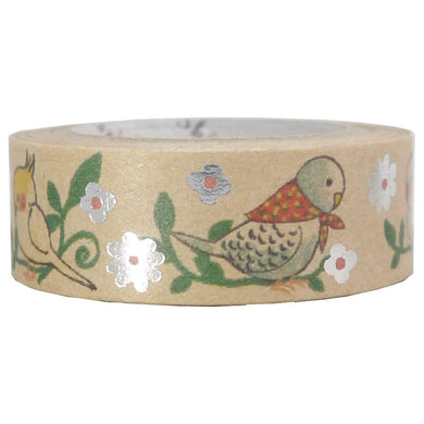 Bird Budgie Parakeet Cockatiel Silver Glitter Craft Tape Shinzi Katoh Design (ks-ct-10054) - Boutique SWEET BIRDIE