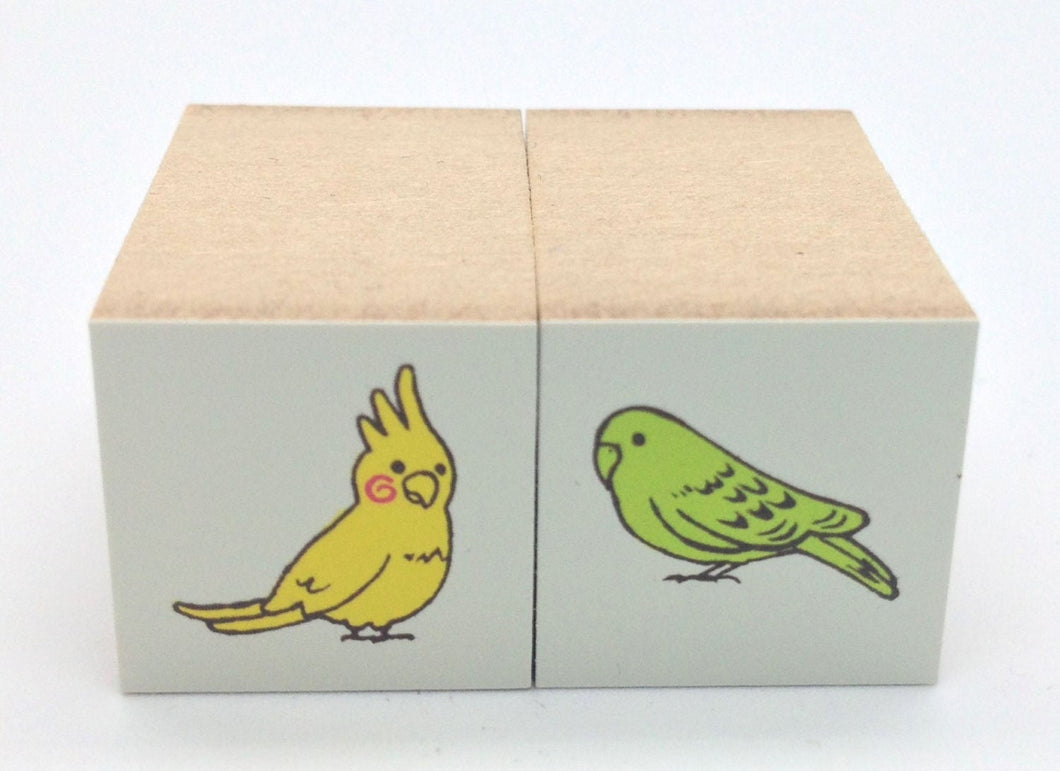 Bird Rubber Stamp Cockatiel Budgie (Mini Size) (1651)