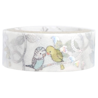 Bird Budgie, Cockatiel Silver Glitter Japanese Washi Tape Shinzi Katoh Design ks-dt-10047 - Boutique SWEET BIRDIE
