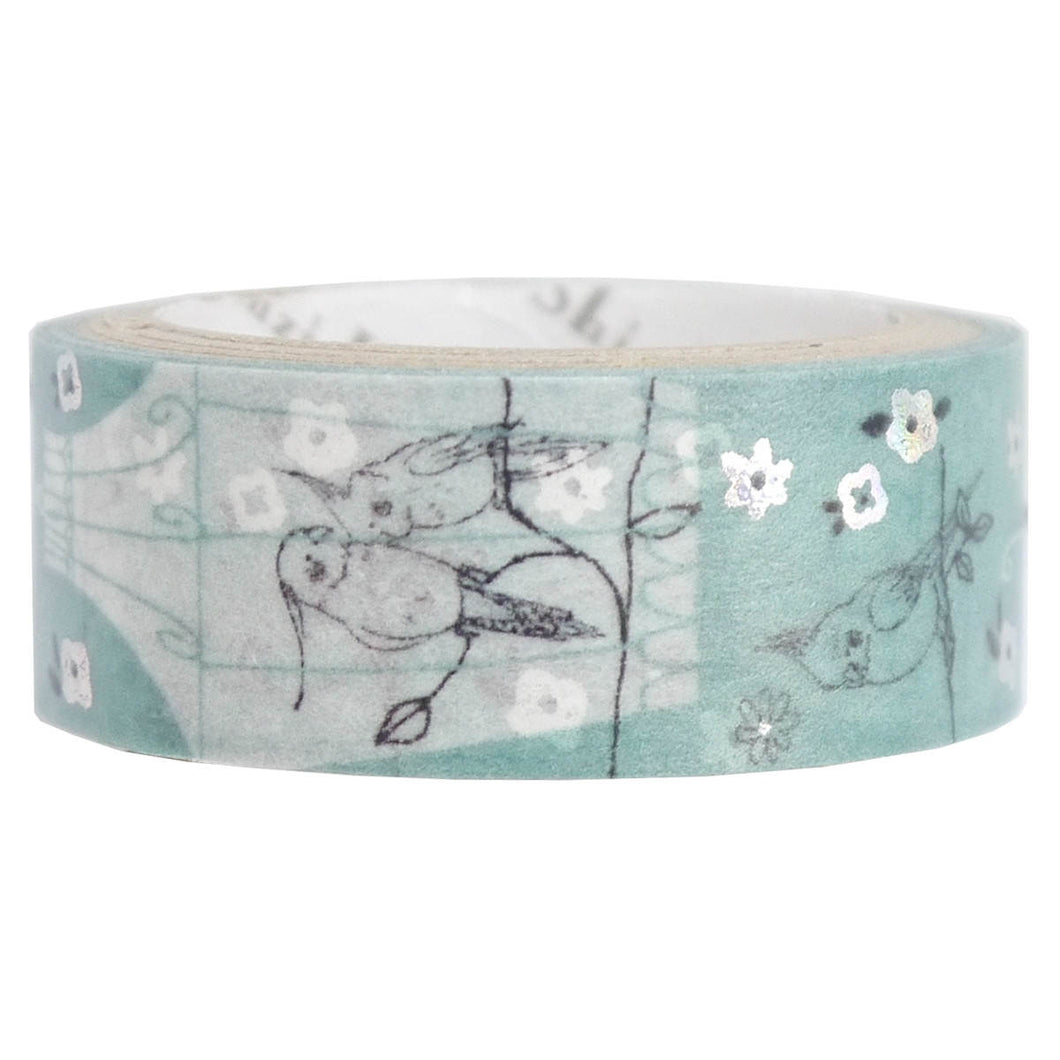 Bird Cockatiel Budgie Silver Glitter Japanese Washi Tape Shinzi Katoh Design (ks-dt-10050)