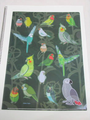 Yukie Sato A4 File Folder  Organizer Java Sparrow, Budgie Budgerigar Cockatiel Monk Parakeet, African Gray Parrot Lovebird - Boutique SWEET BIRDIE