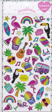 Flamingo Toucan Fruits Tropical Island Glitter Stickers (21130)