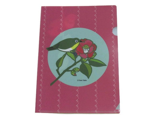 A5 File Folder  Organizer Bird Japanese White-eye & Camellia (yukie-905) - Boutique SWEET BIRDIE