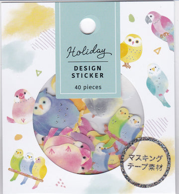 Bird Stickers Flakes with Silver Accent Budgie Budgerigar Parakeet Cockatiel Java Sparrow Owl, etc.  79211 - Boutique SWEET BIRDIE