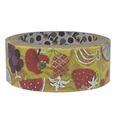 Fruits Silver Glitter Japanese Washi Tape Shinzi Katoh Design