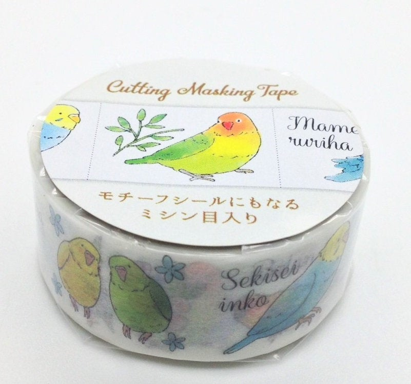 Bird Japanese Washi Tape Masking Tape  with Cutting Lines Washi Stickers Roll Stickers Budgie Cockatiel Lovebird Pacific Parottlet TM00962