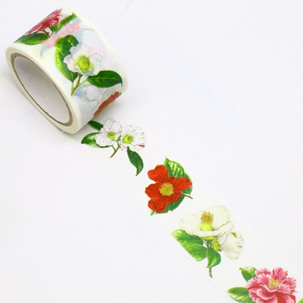 Camellia Japanese Washi Tape Masking Tape Botanical Art by Humiko Sugizaki Wide 2.5cm × 5m - Boutique SWEET BIRDIE