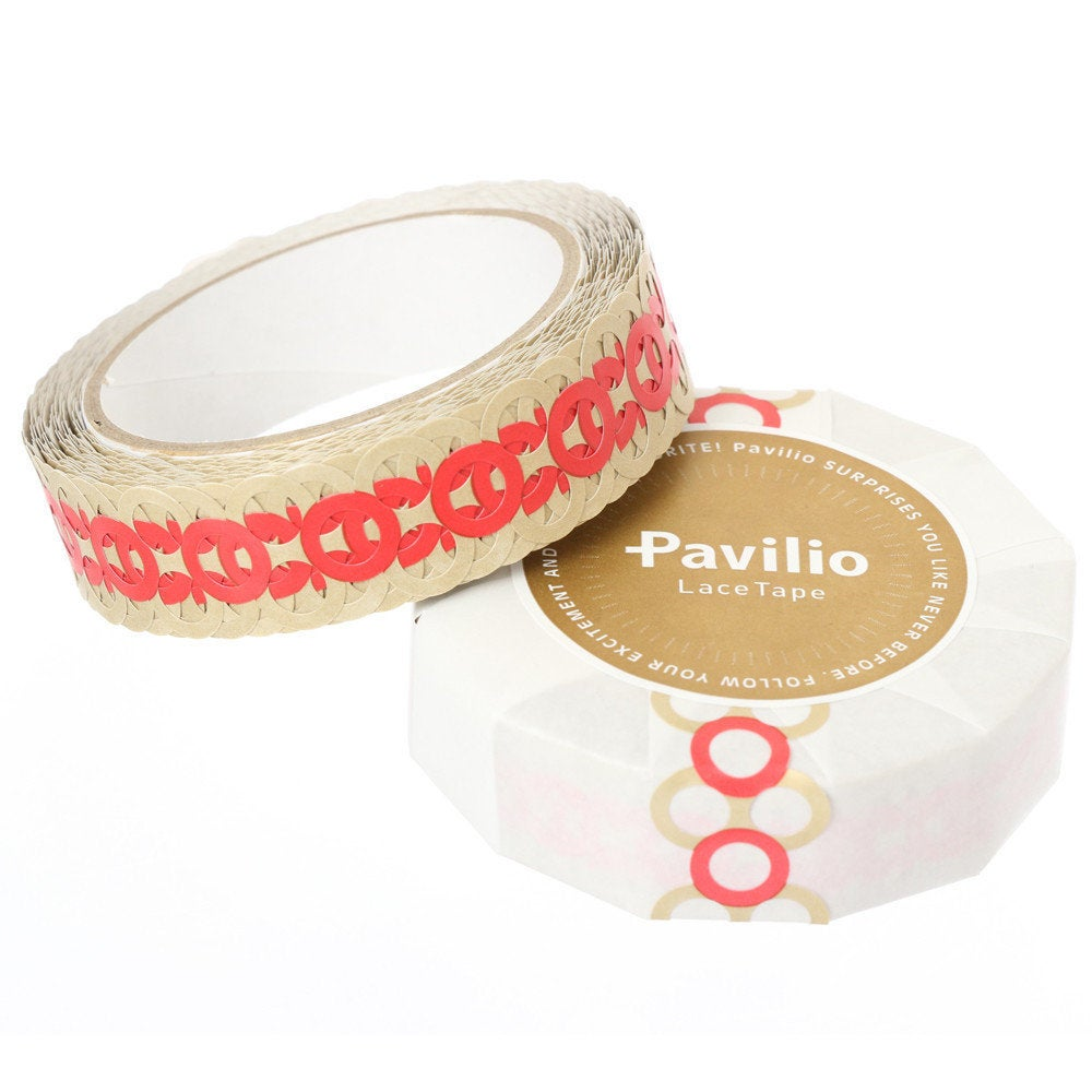 Lace Deco Tape Circle Red Pavilio Standard Size - Boutique SWEET BIRDIE