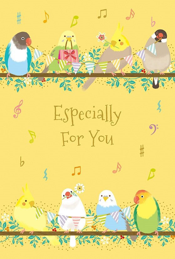 Bird Greeting Card with Speech Balloon Stickers Lovebird Budgie Budgerigar Parakeet Cockatiel Java Sparrow RC500-504