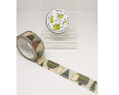 Owl in the Forest Gold Glitter Japanese Washi Tape Shinzi Katoh Design ks-dt-10082 - Boutique SWEET BIRDIE