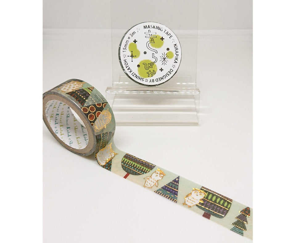 Owl in the Forest Gold Glitter Japanese Washi Tape Shinzi Katoh Design ks-dt-10082