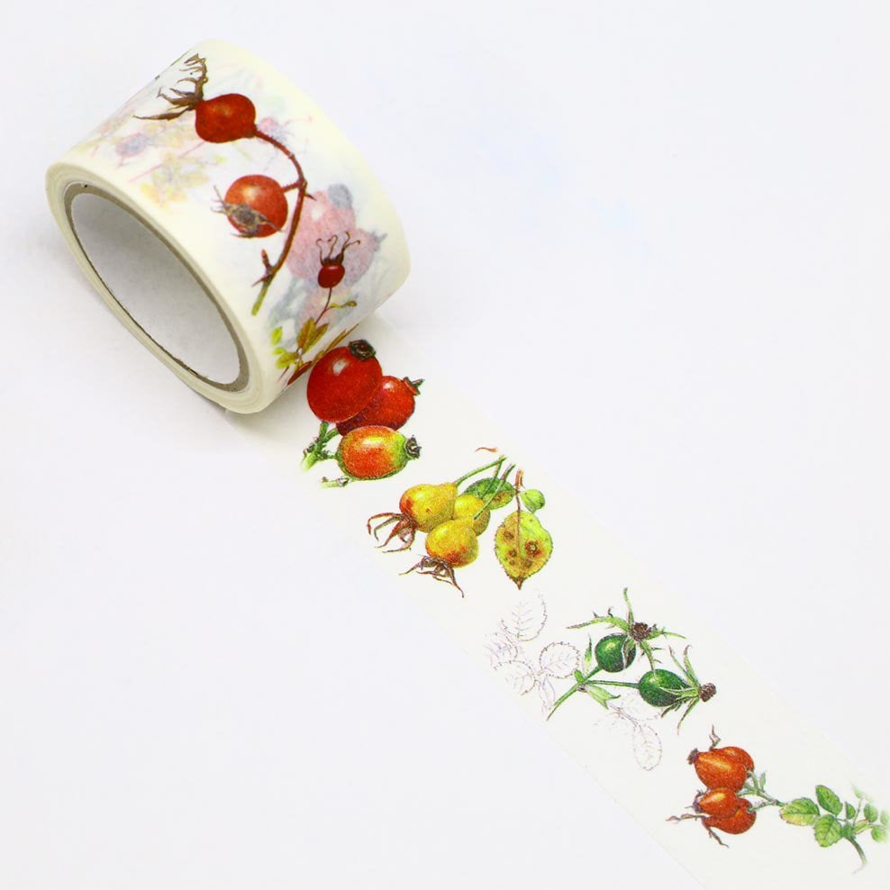 Rose Berry Japanese Washi Tape Masking Tape Botanical Art by Humiko Sugizaki Wide 2.5cm × 5m - Boutique SWEET BIRDIE