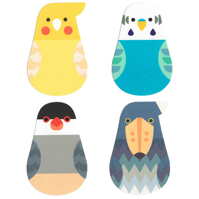 Sets of 6 Bird Message Card Memo Cockatiel Budgie Budgerigar Parakeet Java Sparrow Shoebill - Boutique SWEET BIRDIE