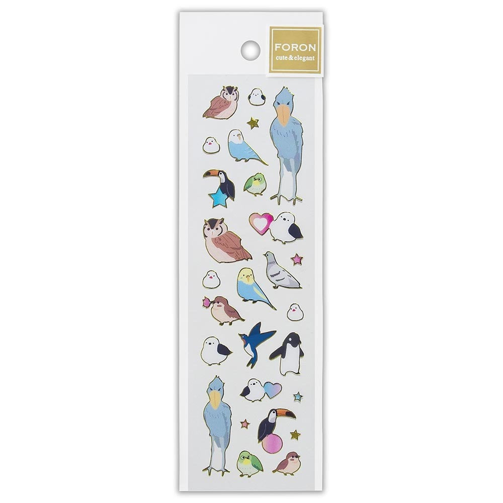 Bird Gold Frame Stickers Owl  Long-tailed Tit Shoebill Java Sparrow Budgie Budgerigar Parakeet Toucan  Japanese White-eye Penguin 5444106
