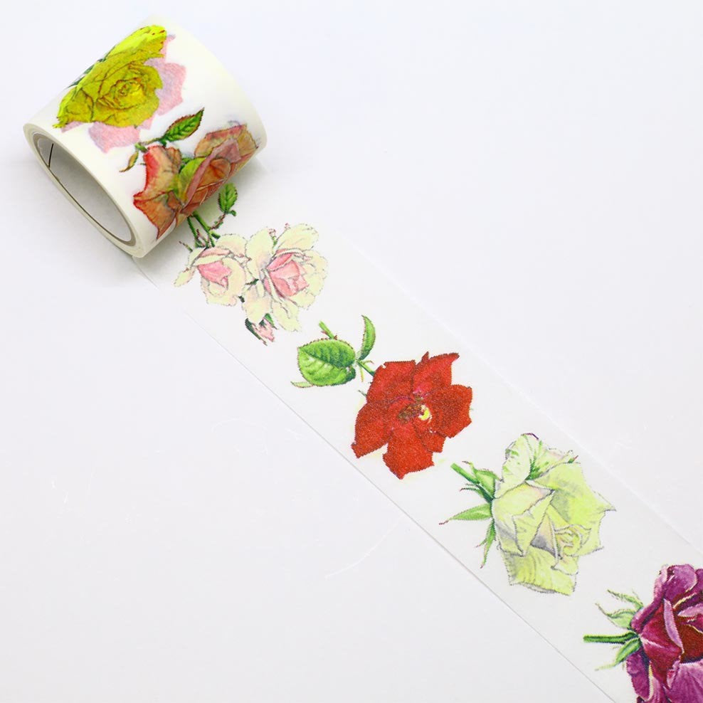 Rose Japanese Washi Tape Masking Tape Botanical Art by Humiko Sugizaki VERY WIDE 3.8cmx5m - Boutique SWEET BIRDIE
