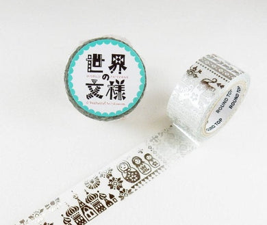 Russian Pattern Silver Japanese Washi Tape - Boutique SWEET BIRDIE