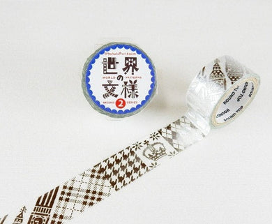 England Pattern Silver Japanese Washi Tape - Boutique SWEET BIRDIE