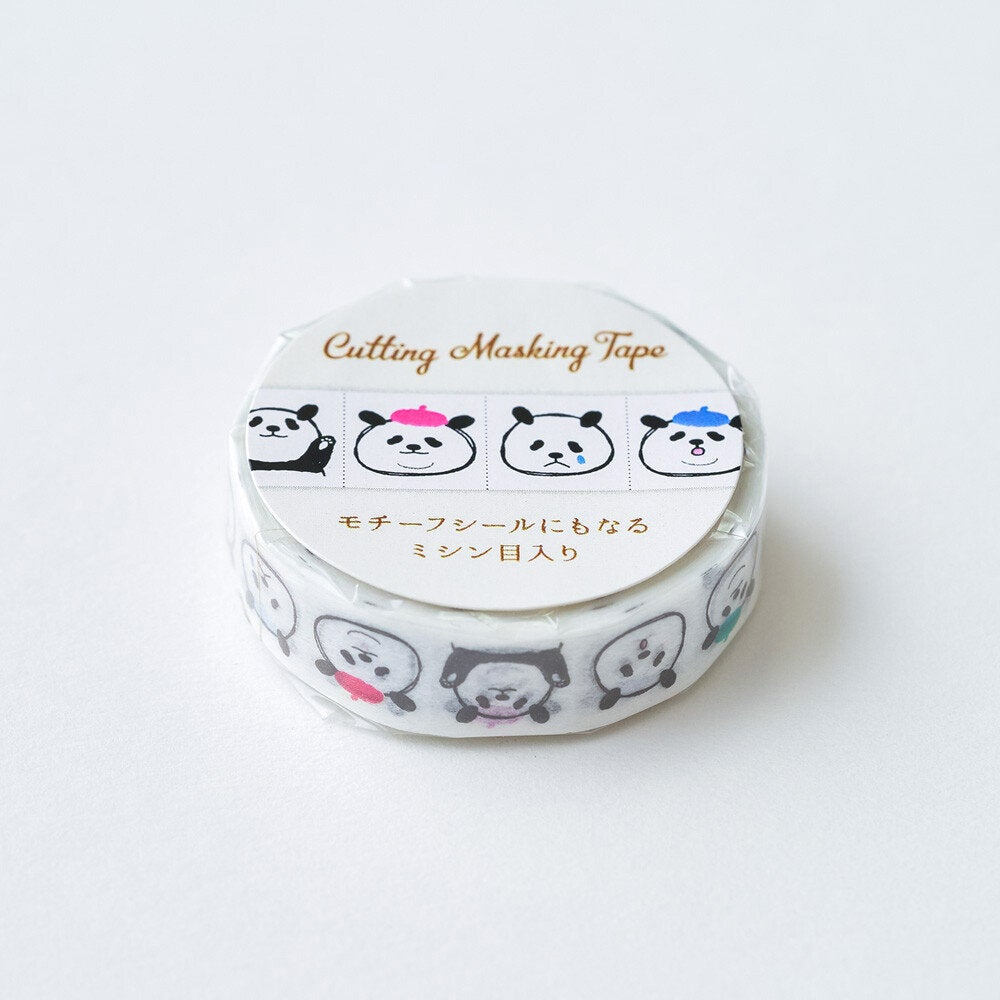 Panda Face Japanese Washi Tape Masking Tape with Cutting Lines Slim Washi Stickers Roll Stickers TM01051