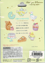 Tea Party with Squirrel Duck & Chick Stickers Flakes 48 pieces 41053