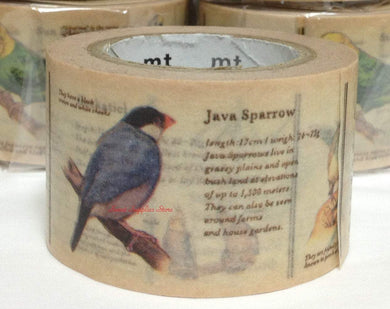Birds Japanese Washi Tape Masking Tape Paper Tape Birds, Budgerigar, Java Sparrow, Sun Parakeet, Cockatiel, Cuban Emerald, Hummingbird, Gouldian Finch