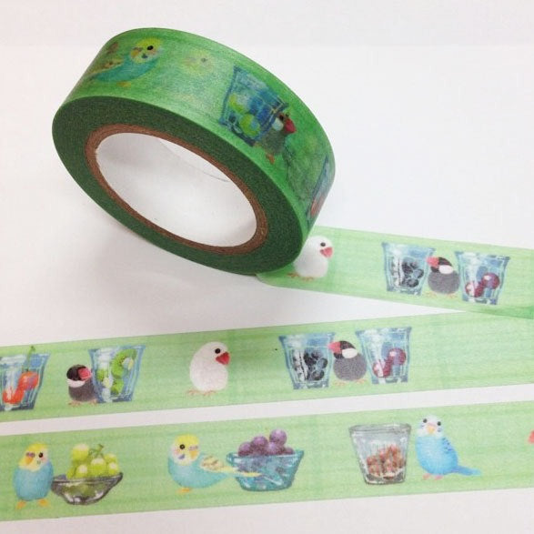 Creative Motion Budgerigar Budgie Parakeet Java Sparrow Finch Japanese Washi Tape Masking Tape - Boutique SWEET BIRDIE