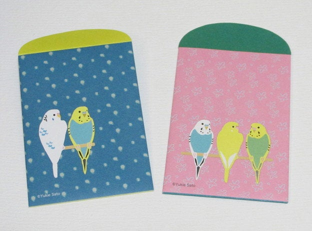Yukie Sato Sets of 4  Mini Envelopes Bird Budgie Budgerigar Parakeet (yukie-302)