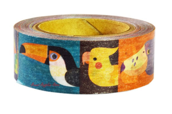 Bird Beak Japanese Washi tape Toucan Cockatiel Macaw Java Sparrow Flamingo Shoebill Japanese White-eye Puffin Pelican Japanese Crested Ibis Takahē - Boutique SWEET BIRDIE